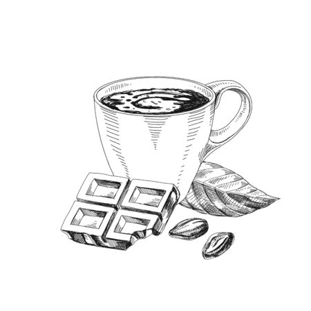 Cup of hot chocolate hand drawn vector illustration. Cacao drink retro ink drawing. Chunk of chocolate and seeds. Engraved style cocoa products. Vintage freehand sketch isolated on white background