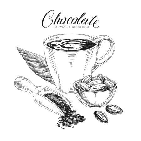Chocolate ingredients hand drawn vector design element. Hot chocolate cup, cocoa beans and nibs retro sketch in engraved style. Cocoa drink and seeds vintage illustration with text. Poster template