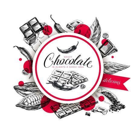 Chocolate hand drawn vintage sketch vector label