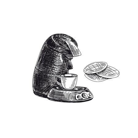 vector hand drawn sketch vintage coffee Illustration Stock fotó - 137872751