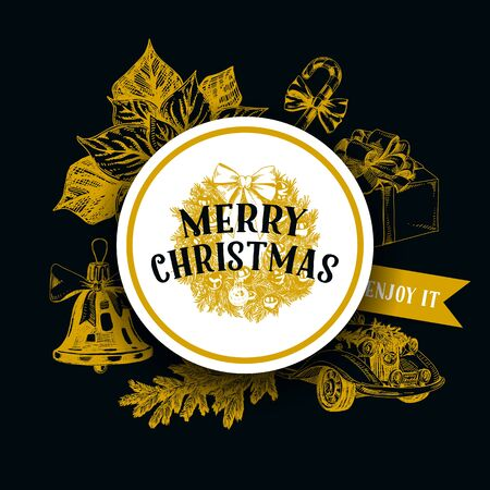 Chalk board Merry Christmas hand drawn vector greeting card template. Xmas wishes message in round frame with decorative wreath. Winter holiday symbols monochrome sketches. New year social media banner design