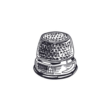 Sewing thimble hand drawn black and white vector illustration Ilustracja
