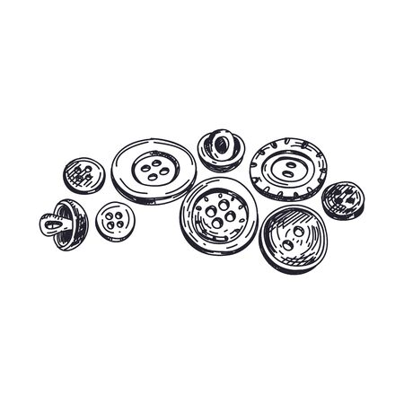 Buttons hand drawn black and white vector illustration 일러스트