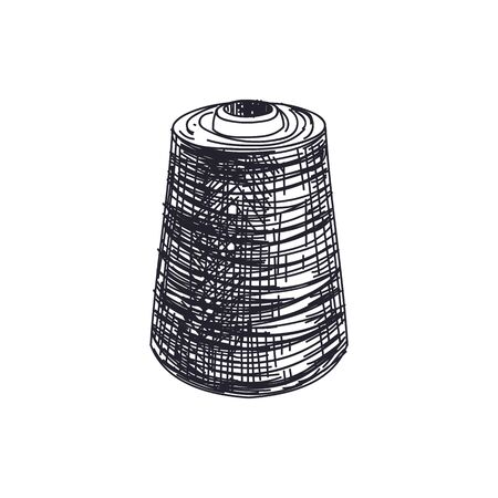 Thread spool hand drawn black and white vector illustration. Needlework, knitting and dressmaking item vintage sketch. Retro yarn bobbin isolated monochrome design element on white background
