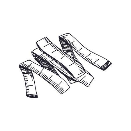 Measuring tape hand drawn monochrome vector illustration Ilustração