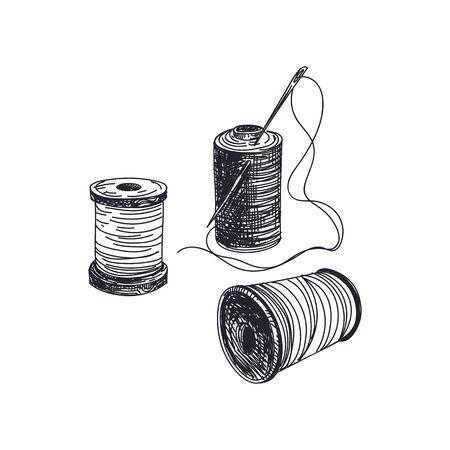 Fadenspulen mit Nadeln handgezeichnete Vektorillustration. Handarbeit und Schneiderei Artikel Vintage-Skizze. Retro-Schnurspulen isoliert monochromes Gestaltungselement auf weißem Hintergrund