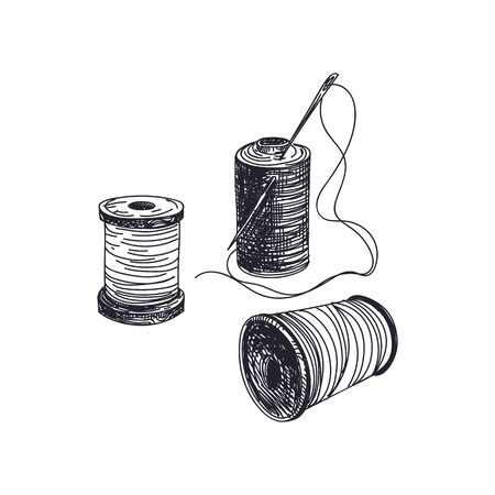 Thread spools with needles hand drawn vector illustration. Needlework and dressmaking items vintage sketch. Retro string bobbins isolated monochrome design element on white background