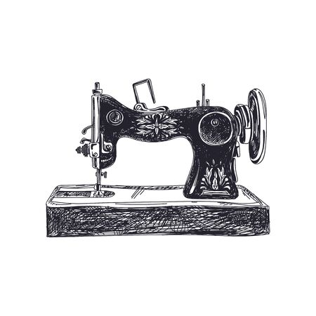 Sewing machine hand drawn black and white vector illustration. Dressmaker vintage equipment simple sketch. Retro tailoring old tool isolated monocolor design element on white background 일러스트