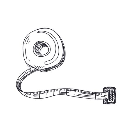 Measuring tape hand drawn black and white vector illustration