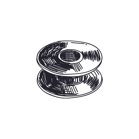Thread spool hand drawn vector vintage illustration