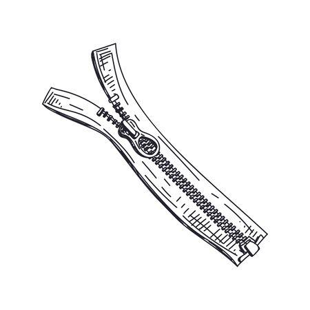 Zipper hand drawn black and white vector illustration