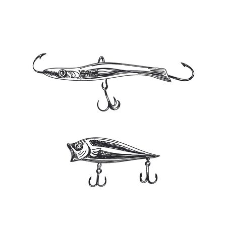 Fishing lures hand drawn black and white vector illustration. Angling equipment simple vintage sketch. Retro hooks with sea small fish isolated monocolor design element on white background