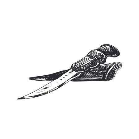 Hunting knife hand drawn black and white Illustration