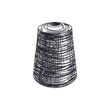 Thread spool hand drawn black and white