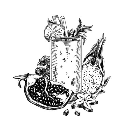Glass of smoothie, vintage hand drawn vector illustration. Cocktail of pomegranate, blueberry, dragon fruit, veggies, carambola retro-style sketch on white background. Illustration