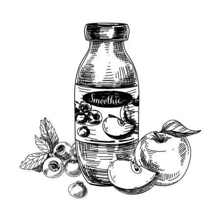 Bottle of smoothie on white