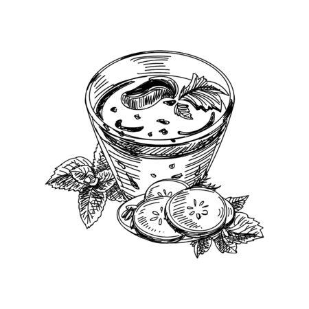 Mug of smoothie on white