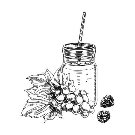 Glass jar mug of smoothie for healthy life with drinking straw