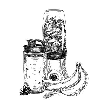 Preparing smoothie with blender on white