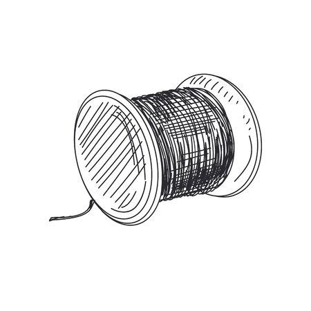 Thread spool hand drawn on white