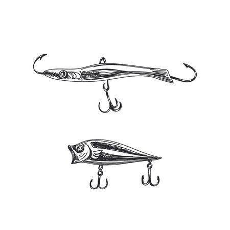 Fishing lures hand drawn on white
