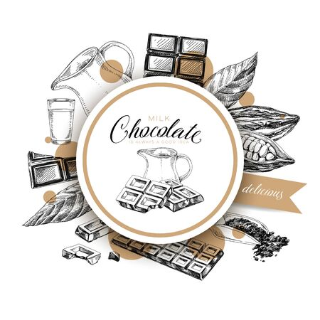 Round frame for chocolate label on white Ilustrace