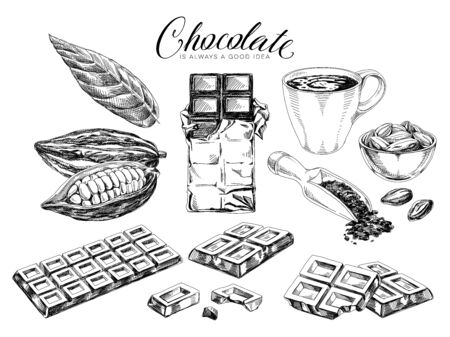 Chocolate desserts hand drawn illustrations set. Vintage black and white sweets, cocoa beans and hot chocolate cup illustrations set on white. Retro style confectionery drawings with slogan