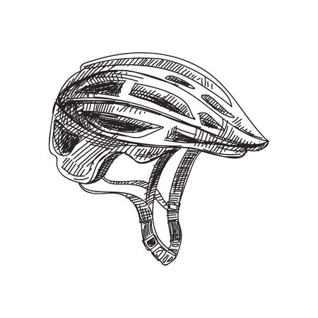 Safety bike helmet hand drawn black and white vector illustration. Retro headwear, casque sketch. Cycle accessory monochrome design element. Vintage bicycle headgear isolated on white background 일러스트