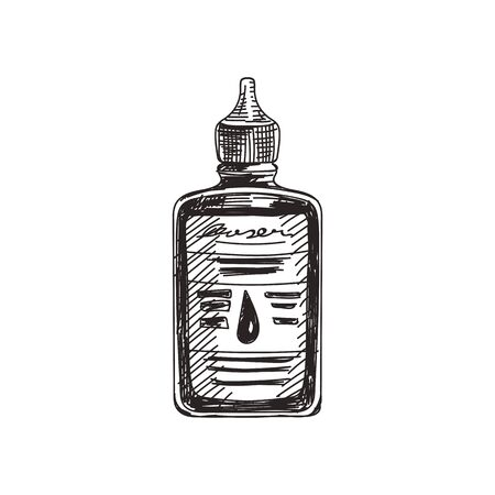 Machine oil hand drawn black and white vector illustration. Lube plastic tube sketch. Retro container monochrome design element. Vintage vehicle grease bottle isolated on white background