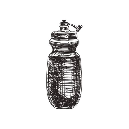 Retro sport bottle hand drawn black and white vector illustration. Vintage water container sketch. Bike accessory monochrome design element. Liquid package isolated on white background 일러스트