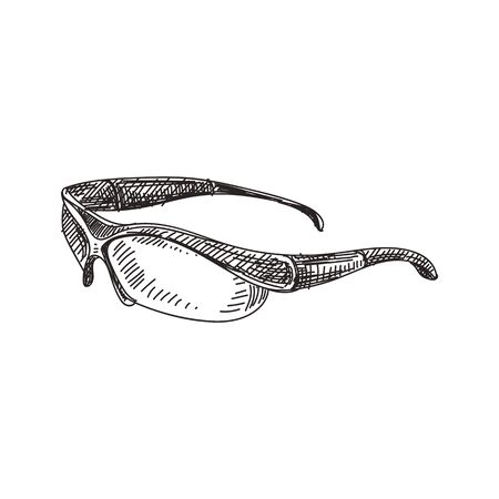 Sport glasses hand drawn black and white vector illustration. Retro eyeglasses sketch. Eye protection device monochrome design element. Vintage bicycle spectacles isolated on white background
