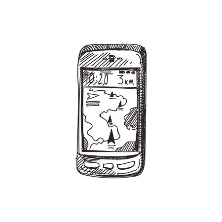 Navigator hand drawn black and white vector illustration. Retro route search device sketch. Mobile navigation system monochrome design element. Vintage cellphone isolated on white background