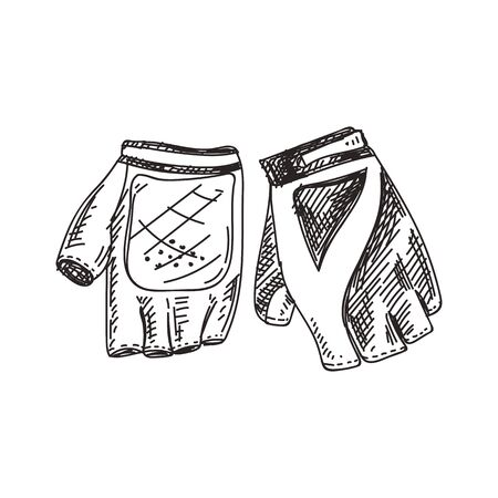 Cycling gloves hand drawn black and white vector illustration. Retro sportswear sketch. Hand protection item monochrome design element. Vintage sport gloves isolated on white background