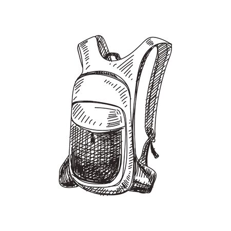 Rucksack, casual bag hand drawn black and white vector illustration. Sport backpack sketch. Retro tourist accessory monochrome design element. Vintage fabric knapsack isolated on white background 일러스트