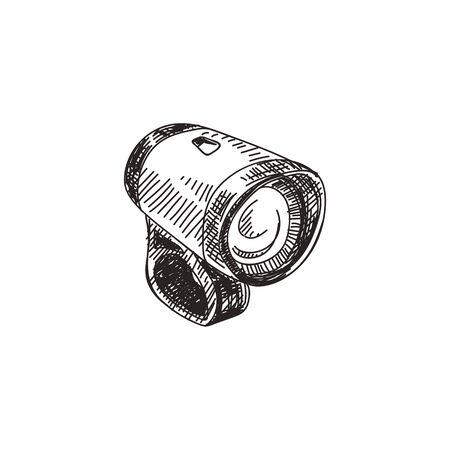 Bike headlamp hand drawn black and white vector illustration Vetores