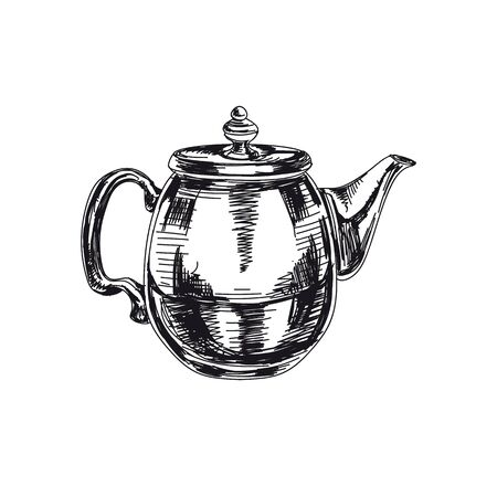 Retro teapot hand drawn black and white vector illustration. Glass pot sketch. Kettle with lid, kitchenware design element. Vintage tea brewing container isolated on white background 일러스트