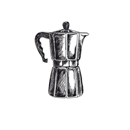Coffee brewer hand drawn black and white