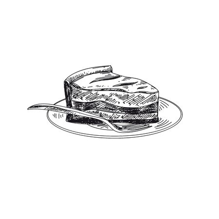 Pie hand drawn black and white vector illustration. Plate with cake piece and fork sketch. Retro dessert serving design element. Vintage sweet bakery, pastry isolated on white background 矢量图像
