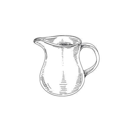 Jug hand drawn black and white vector illustration. Retro milk decanter sketch. Ewer, utensil, kitchenware design element. Vintage pottery, ceramic carafe isolated on white background