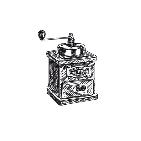 Coffee grinder hand drawn black and white vector illustration. Manual kitchen device sketch. Retro handle machine monochrome design element. Vintage coffee mill isolated on white background
