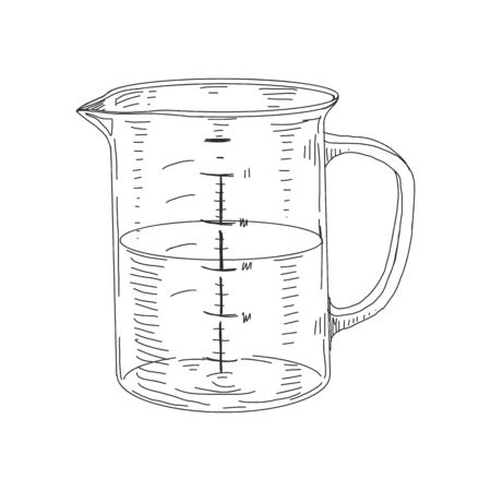 Measuring cup, retro hand drawn vector illustration. Tool for the precise composition of liquid and bulk products, for cooking and scientific purposes, sketch vintage engraving on white. Vektorgrafik