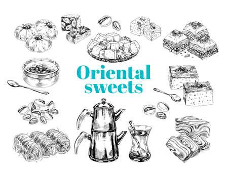 Oriental sweet desserts collection, retro hand drawn vector illustration.