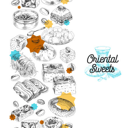 Seamless vertical pattern composition with oriental sweets, hand drawn retro vector illustration. Vecteurs