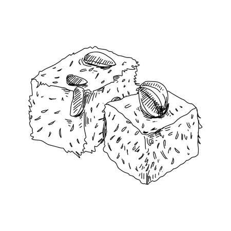 Lokum, oriental sweet dessert, retro hand drawn vector illustration.