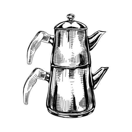 Turkish teapot, retro hand drawn vector illustration.
