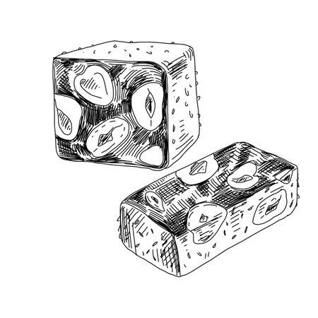 Nougat, eastern delicacy , retro hand drawn vector illustration. Vecteurs