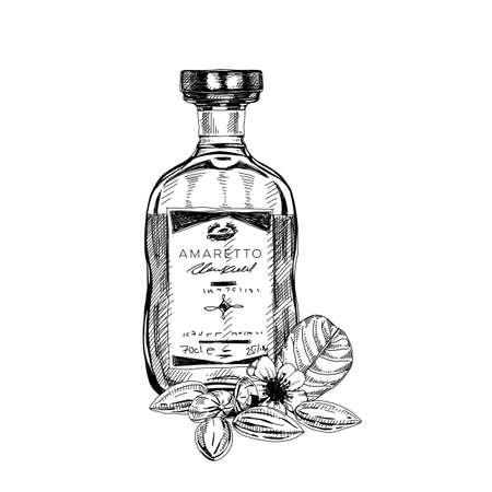 Amaretto bottle, retro hand drawn vector illustration. Vector Illustration