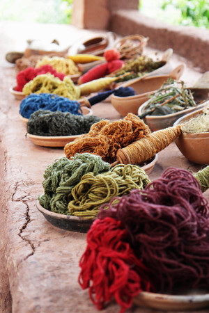 traditional Peruvian craft - making colorful yarn from alpaca wool