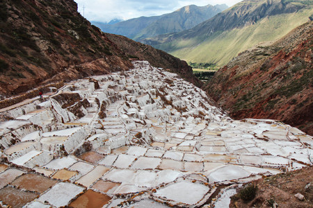 Peruvian mountainous landscape covered by salt pans