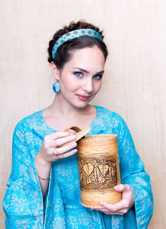 girl in a blue dress with toes.the image of a Russian beauty, Stock Photo